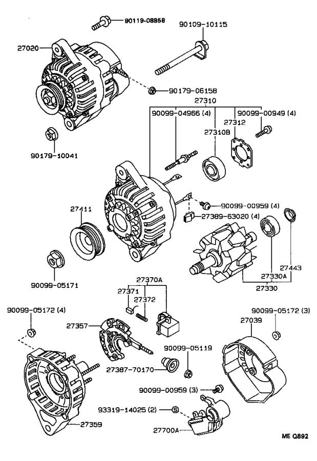 Toyota Corolla Bearing For Alternator Drive End Frame   Delco